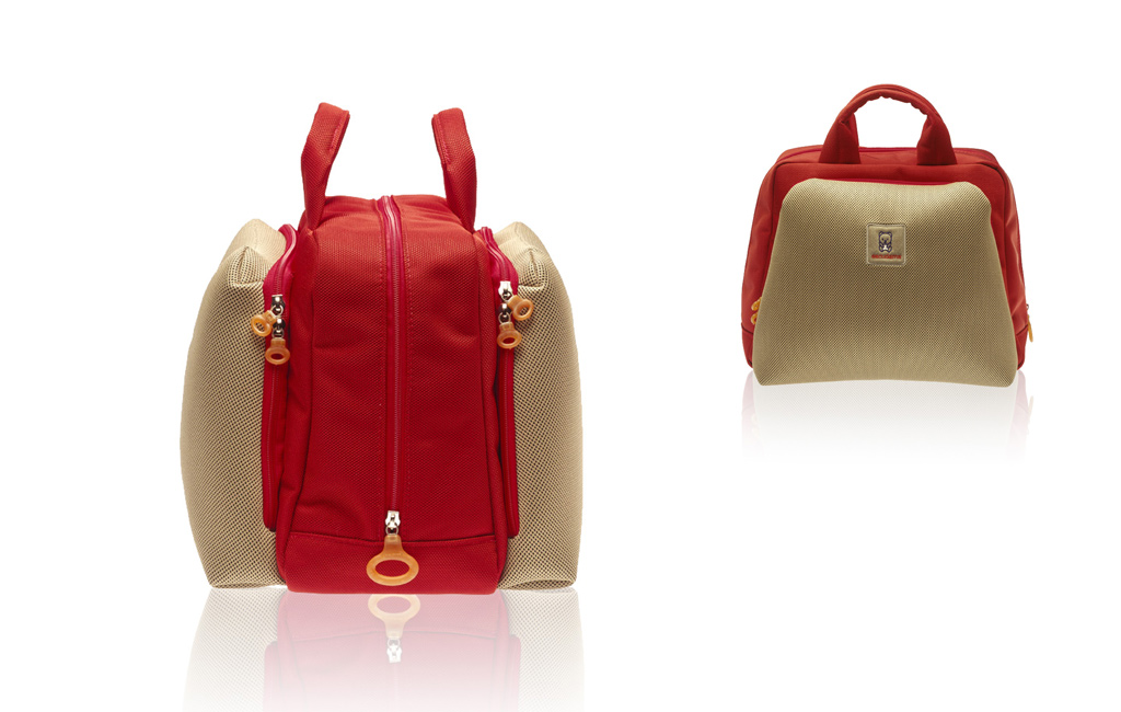 red and begie functional bag